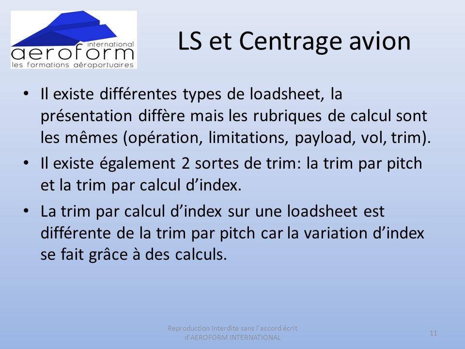 LS et Centrage avion Il existe différentes types de loadsheet, la présentation diffère mais les rubriques de calcul sont les mêmes (opération, limitations, payload, vol, trim).