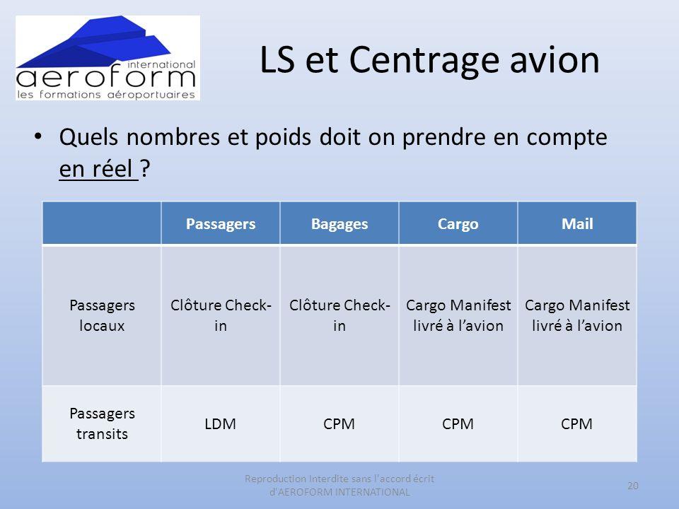 LS et Centrage avion Quels nombres et poids doit on prendre en compte en réel .