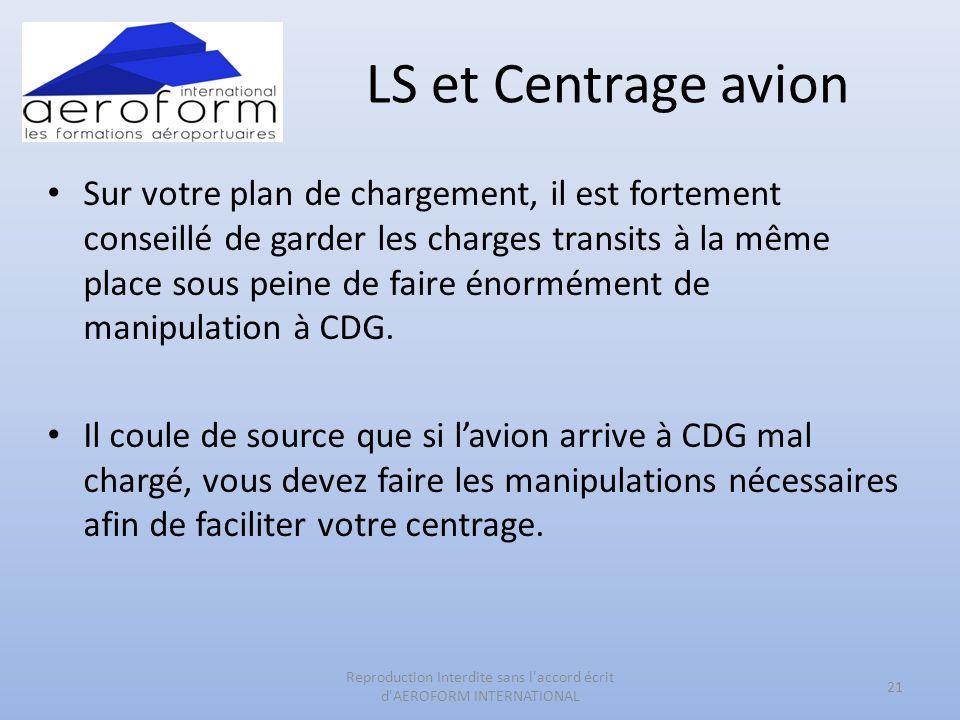 LS et Centrage avion Sur votre plan de chargement, il est fortement conseillé de garder les charges transits à la même place sous peine de faire énormément de manipulation à CDG.