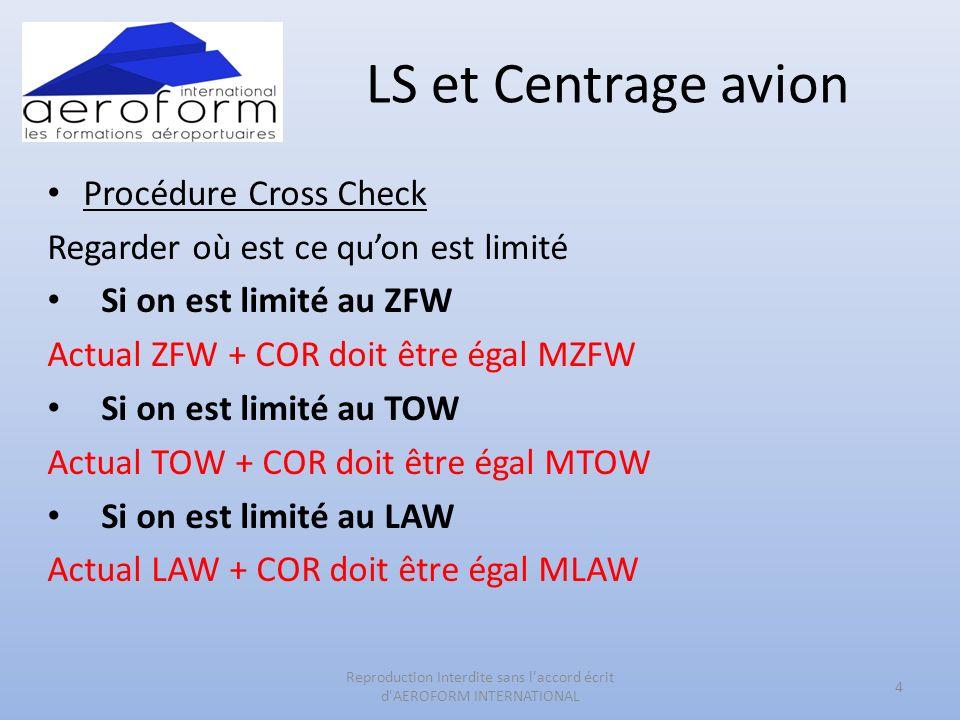 LS et Centrage avion Procédure Cross Check Regarder où est ce quon est limité Si on est limité au ZFW Actual ZFW + COR doit être égal MZFW Si on est limité au TOW Actual TOW + COR doit être égal MTOW Si on est limité au LAW Actual LAW + COR doit être égal MLAW 4 Reproduction Interdite sans l accord écrit d AEROFORM INTERNATIONAL