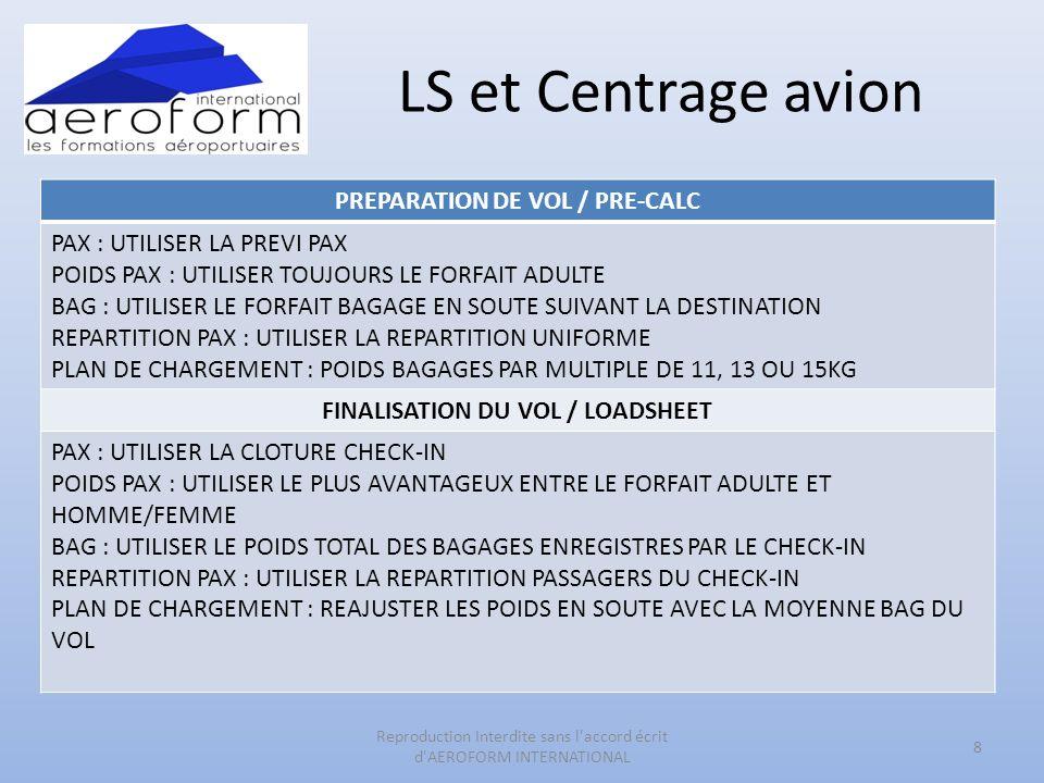 LS et Centrage avion PREPARATION DE VOL / PRE-CALC PAX : UTILISER LA PREVI PAX POIDS PAX : UTILISER TOUJOURS LE FORFAIT ADULTE BAG : UTILISER LE FORFAIT BAGAGE EN SOUTE SUIVANT LA DESTINATION REPARTITION PAX : UTILISER LA REPARTITION UNIFORME PLAN DE CHARGEMENT : POIDS BAGAGES PAR MULTIPLE DE 11, 13 OU 15KG FINALISATION DU VOL / LOADSHEET PAX : UTILISER LA CLOTURE CHECK-IN POIDS PAX : UTILISER LE PLUS AVANTAGEUX ENTRE LE FORFAIT ADULTE ET HOMME/FEMME BAG : UTILISER LE POIDS TOTAL DES BAGAGES ENREGISTRES PAR LE CHECK-IN REPARTITION PAX : UTILISER LA REPARTITION PASSAGERS DU CHECK-IN PLAN DE CHARGEMENT : REAJUSTER LES POIDS EN SOUTE AVEC LA MOYENNE BAG DU VOL 8 Reproduction Interdite sans l accord écrit d AEROFORM INTERNATIONAL