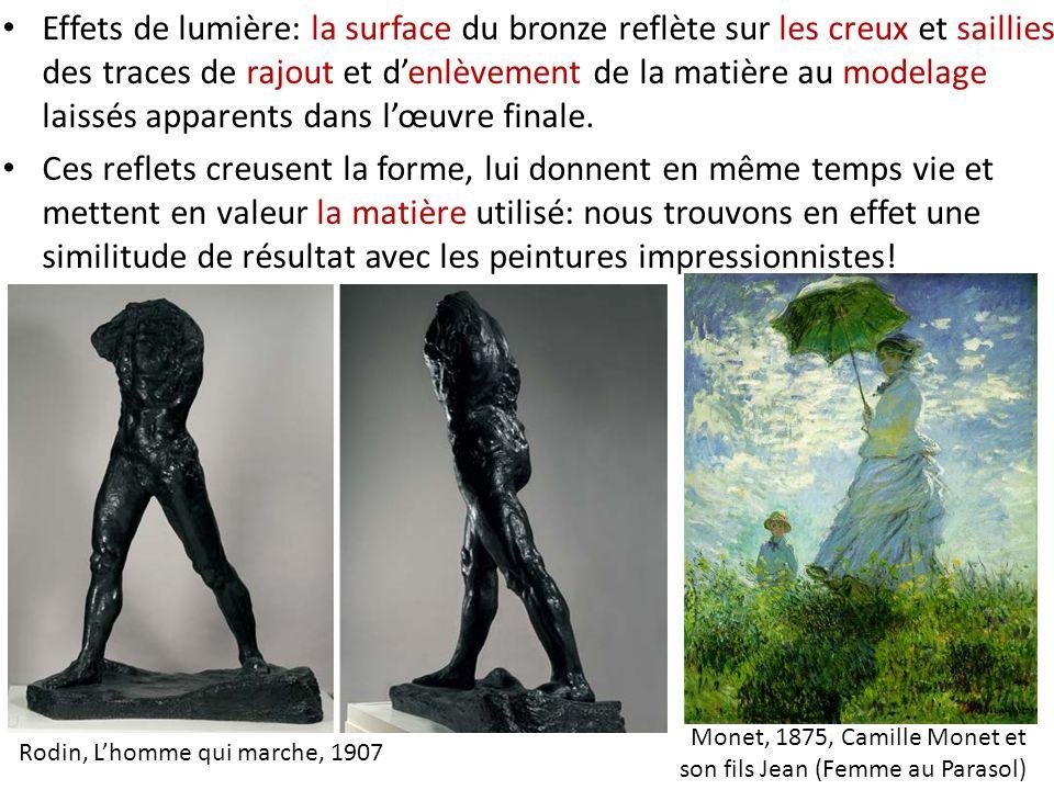Monet, 1875, Camille Monet et son fils Jean (Femme au Parasol) Rodin, Lhomme qui marche, 1907 Effets de lumière: la surface du bronze reflète sur les