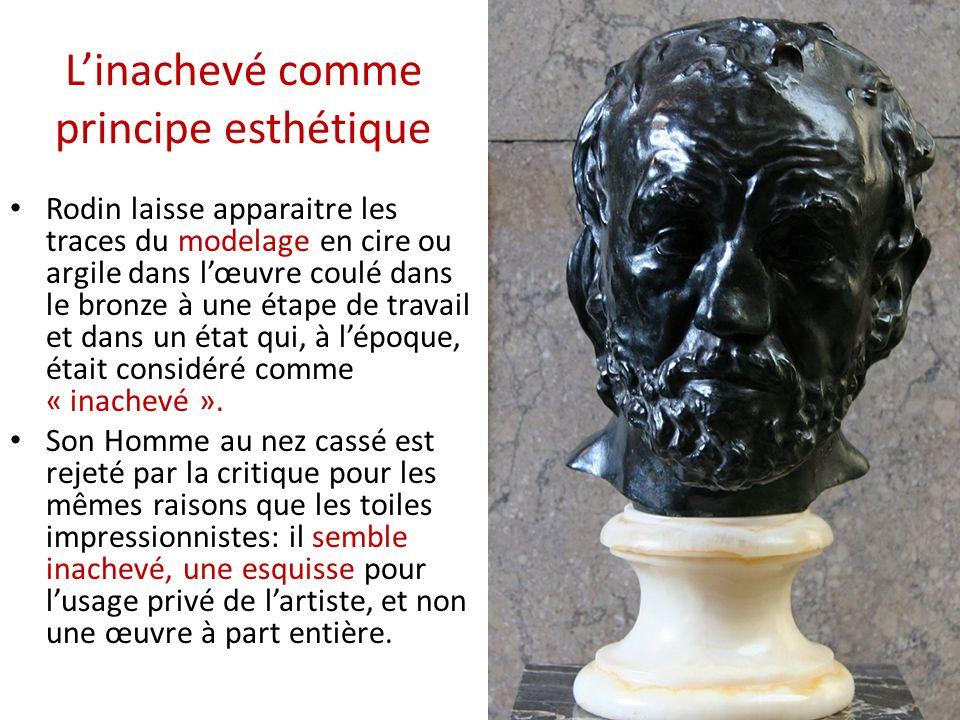Rodin laisse apparaitre les traces du modelage en cire ou argile dans lœuvre coulé dans le bronze à une étape de travail et dans un état qui, à lépoqu