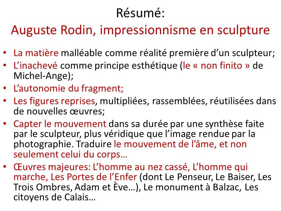 Résumé: Auguste Rodin, impressionnisme en sculpture La matière malléable comme réalité première dun sculpteur; Linachevé comme principe esthétique (le