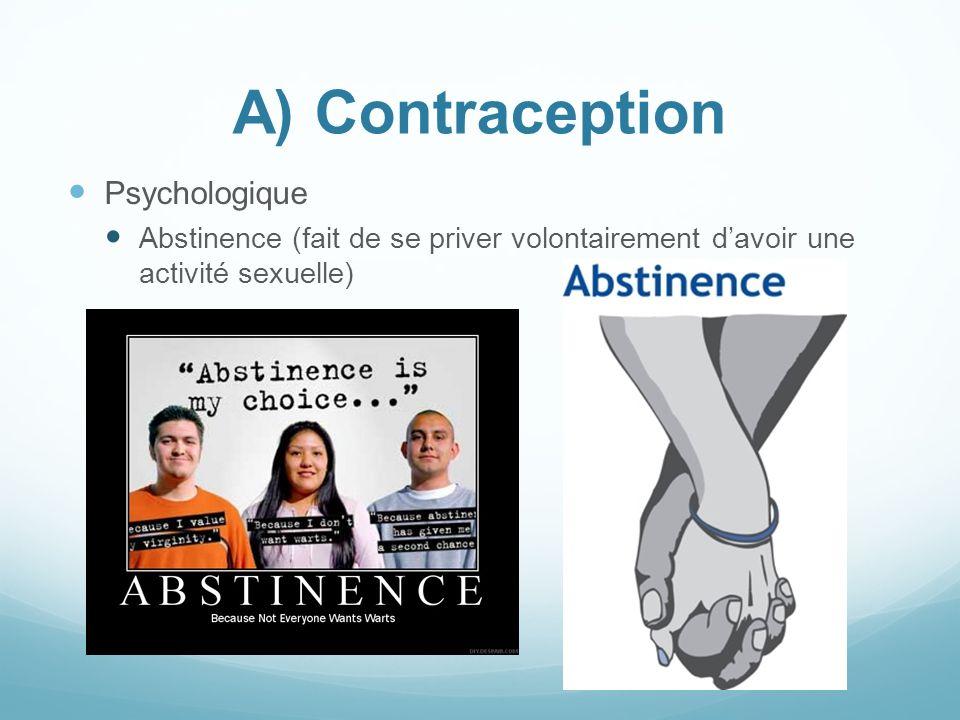 A) Contraception Psychologique Abstinence (fait de se priver volontairement davoir une activité sexuelle)