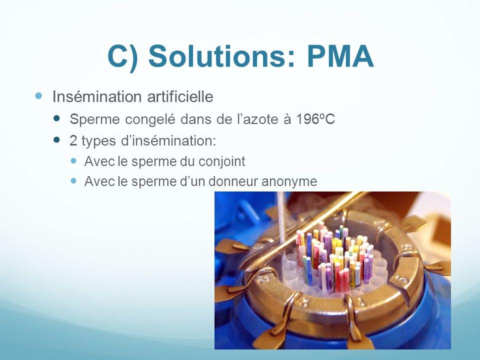 C) Solutions: PMA Insémination artificielle Sperme congelé dans de lazote à 196ºC 2 types dinsémination: Avec le sperme du conjoint Avec le sperme dun