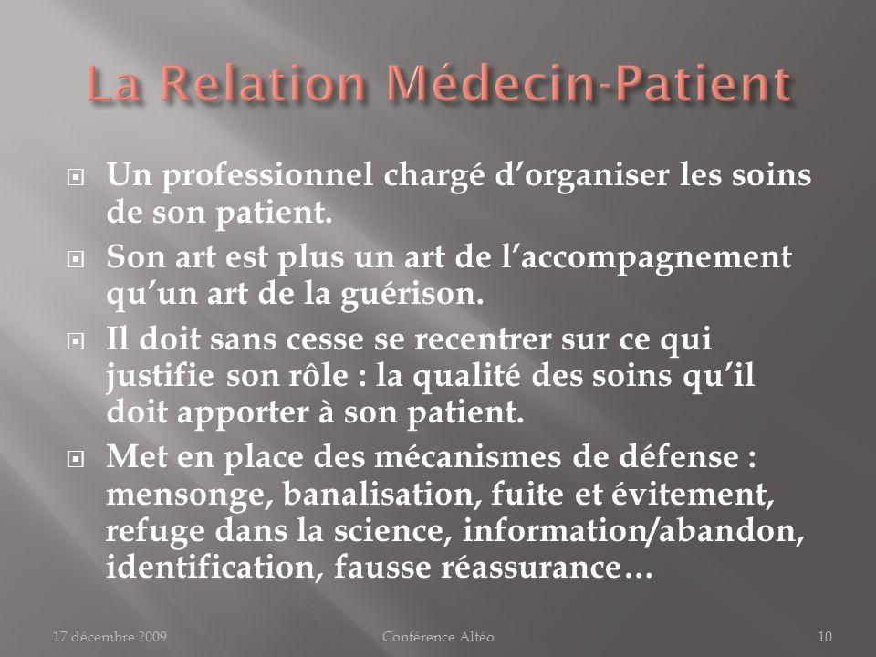 Qui est le patient ? 17 décembre 2009Conférence Altéo11