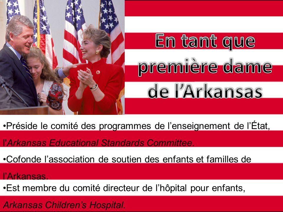 Préside le comité des programmes de lenseignement de lÉtat, l'Arkansas Educational Standards Committee. Cofonde lassociation de soutien des enfants et