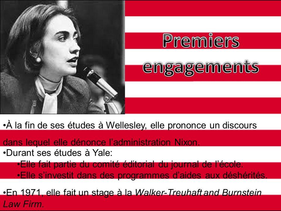 À la fin de ses études à Wellesley, elle prononce un discours dans lequel elle dénonce ladministration Nixon. Durant ses études à Yale: Elle fait part