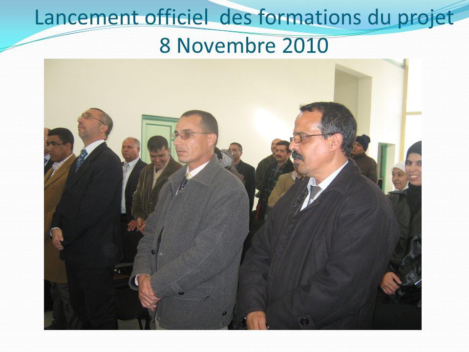 Lancement officiel des formations du projet 8 Novembre 2010