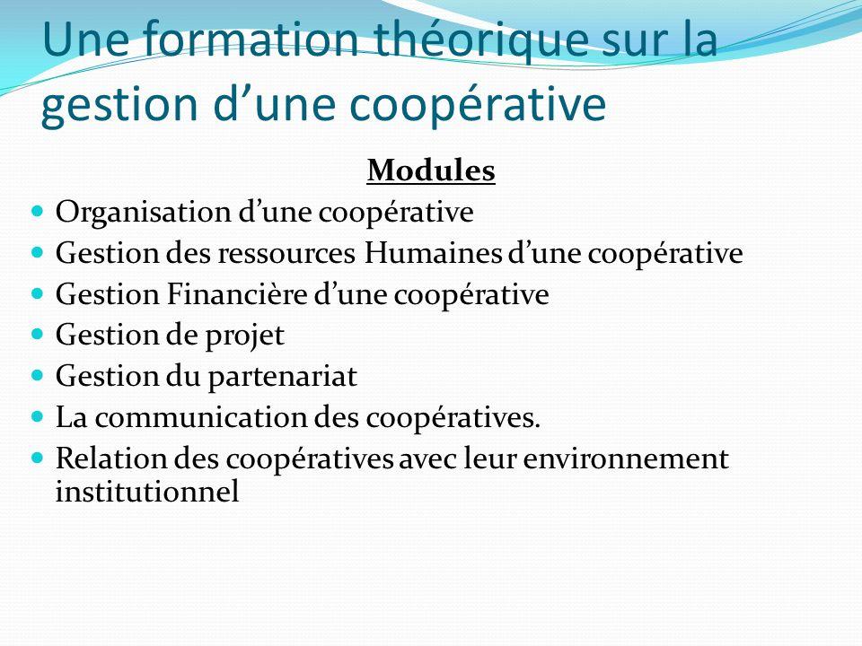 Une formation théorique sur la gestion dune coopérative Modules Organisation dune coopérative Gestion des ressources Humaines dune coopérative Gestion