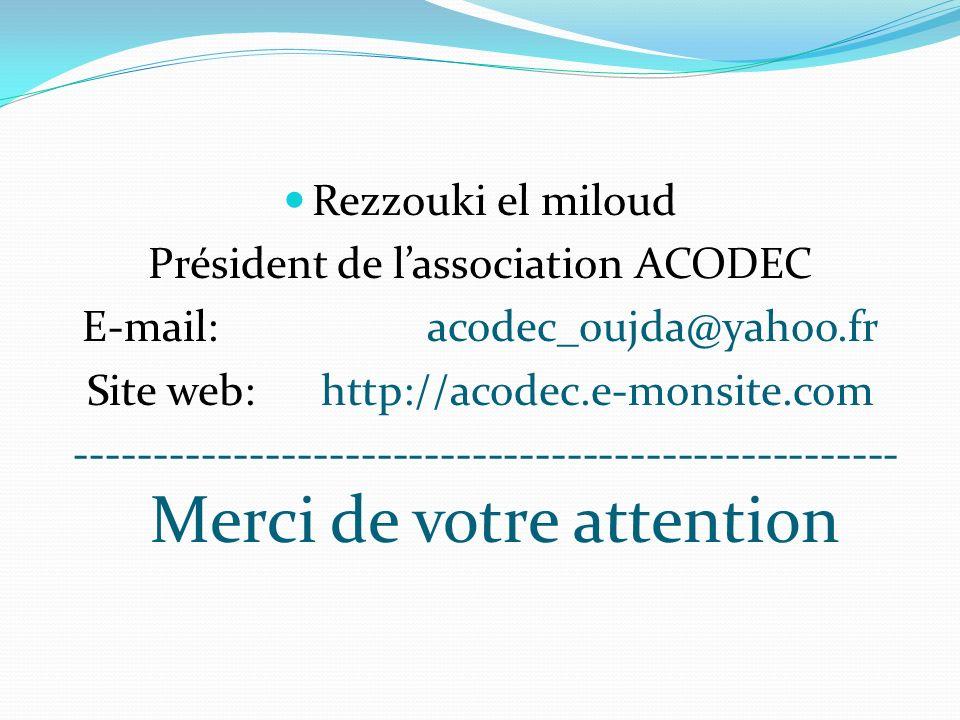Rezzouki el miloud Président de lassociation ACODEC E-mail: acodec_oujda@yahoo.fr Site web: http://acodec.e-monsite.com ------------------------------