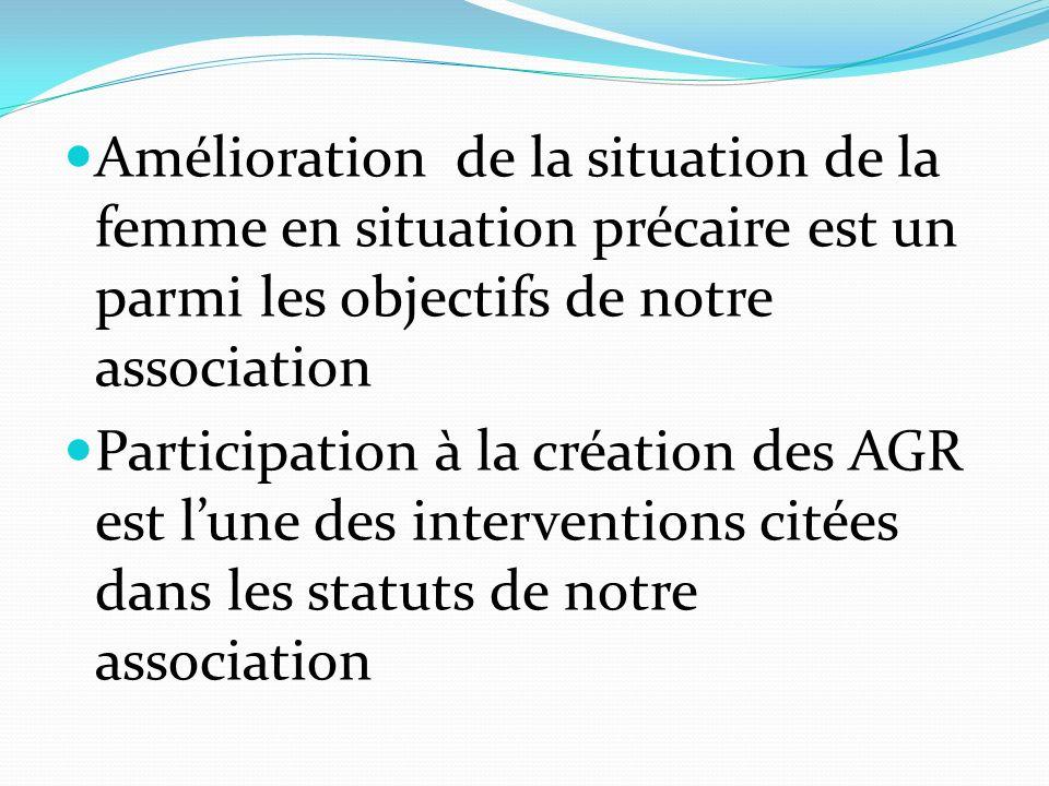 Amélioration de la situation de la femme en situation précaire est un parmi les objectifs de notre association Participation à la création des AGR est