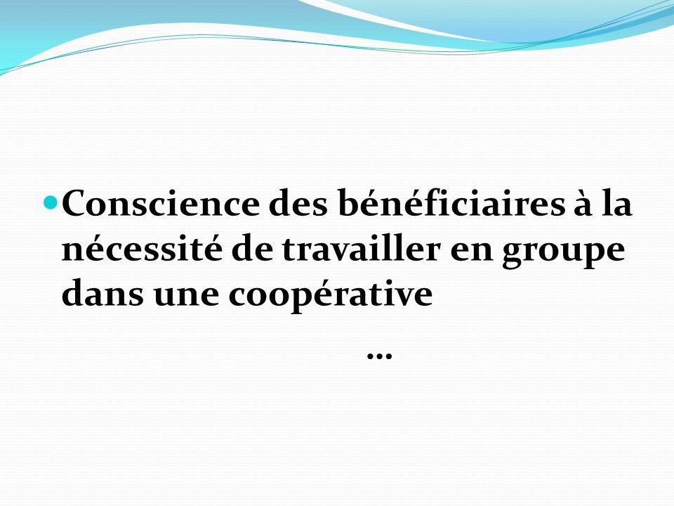 Conscience des bénéficiaires à la nécessité de travailler en groupe dans une coopérative …