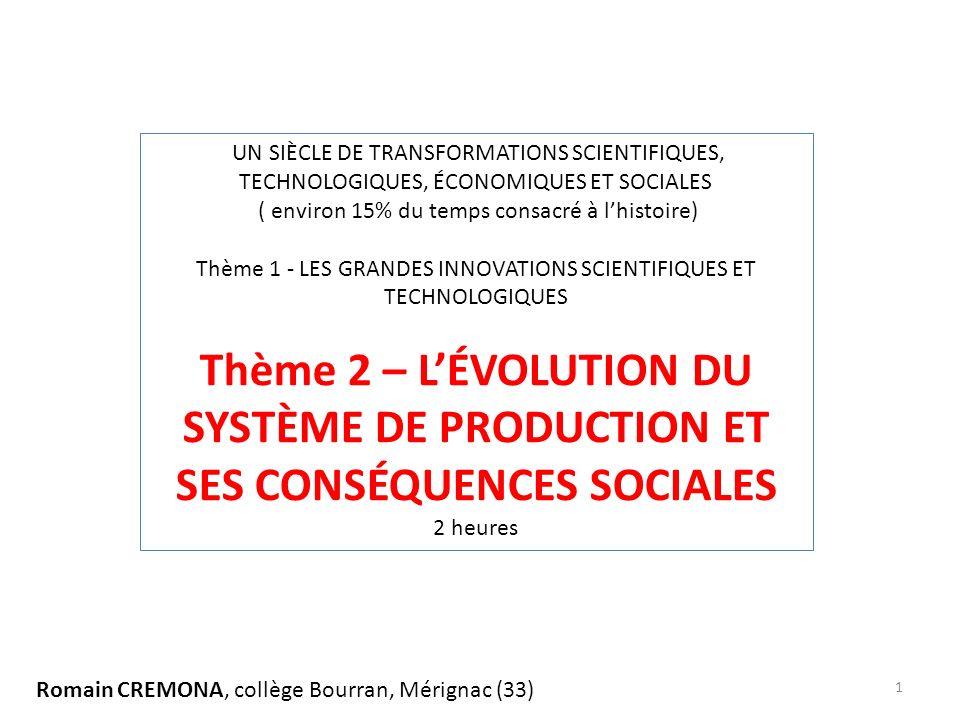 UN SIÈCLE DE TRANSFORMATIONS SCIENTIFIQUES, TECHNOLOGIQUES, ÉCONOMIQUES ET SOCIALES ( environ 15% du temps consacré à lhistoire) Thème 1 - LES GRANDES