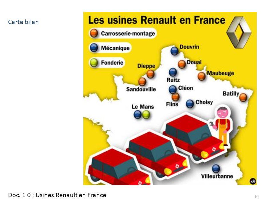 Doc. 1 0 : Usines Renault en France 10 Carte bilan