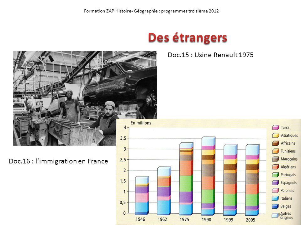 Formation ZAP Histoire- Géographie : programmes troisième 2012 Doc.15 : Usine Renault 1975 Doc.16 : limmigration en France 14