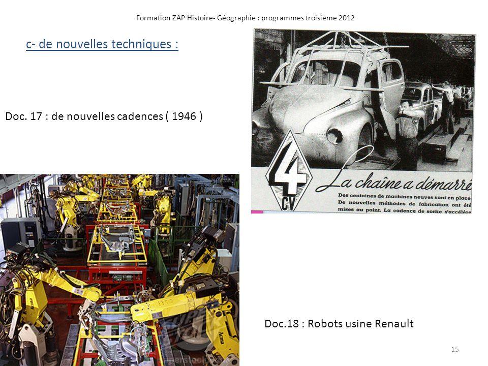 Formation ZAP Histoire- Géographie : programmes troisième 2012 Doc. 17 : de nouvelles cadences ( 1946 ) c- de nouvelles techniques : Doc.18 : Robots u