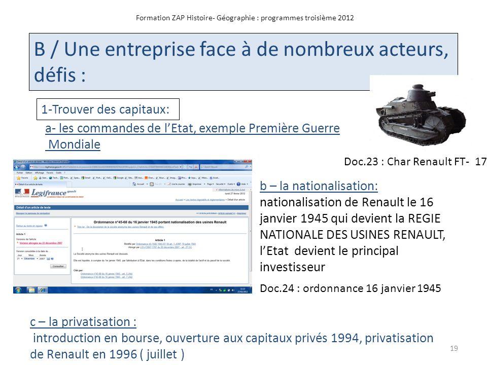 Formation ZAP Histoire- Géographie : programmes troisième 2012 B / Une entreprise face à de nombreux acteurs, défis : 1-Trouver des capitaux: a- les c