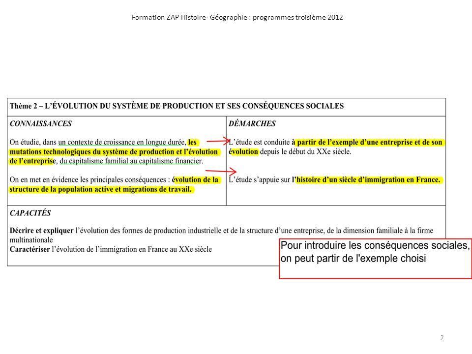 Formation ZAP Histoire- Géographie : programmes troisième 2012 2