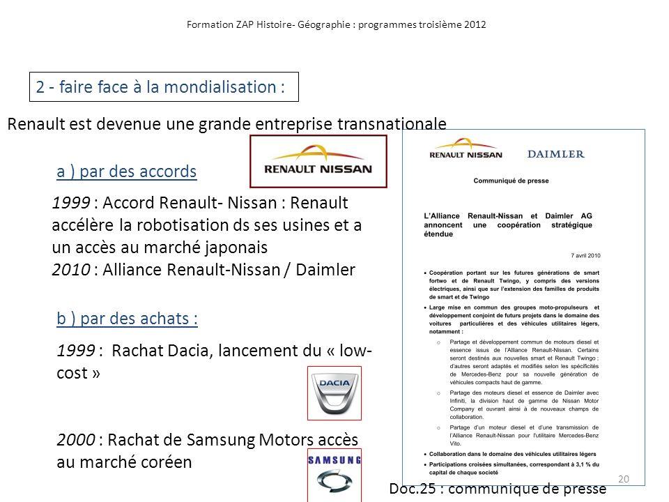 Formation ZAP Histoire- Géographie : programmes troisième 2012 2 - faire face à la mondialisation : a ) par des accords 1999 : Accord Renault- Nissan