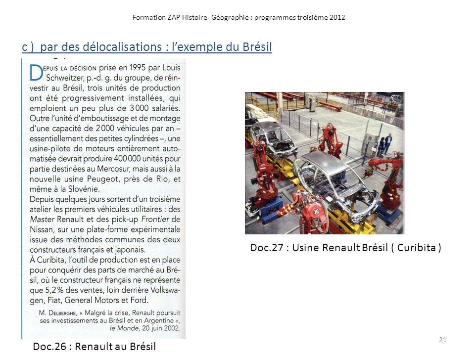 Formation ZAP Histoire- Géographie : programmes troisième 2012 c ) par des délocalisations : lexemple du Brésil Doc.27 : Usine Renault Brésil ( Curibi