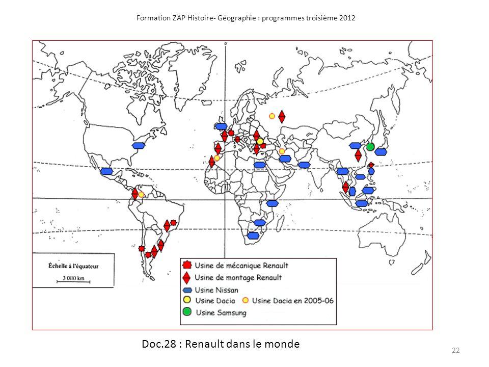 Formation ZAP Histoire- Géographie : programmes troisième 2012 Doc.28 : Renault dans le monde 22