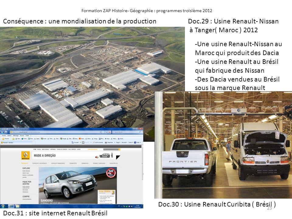 Formation ZAP Histoire- Géographie : programmes troisième 2012 Conséquence : une mondialisation de la productionDoc.29 : Usine Renault- Nissan à Tange