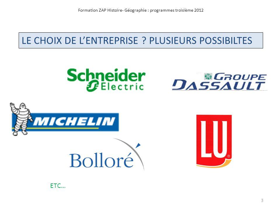 Formation ZAP Histoire- Géographie : programmes troisième 2012 Doc.32: Technocentre Renault à Guyancourt CONCLUSION -Toujours innover - Des emplois qui partent dautres qui restent en France 24 Doc.33: Logo véhicules Renault électrique