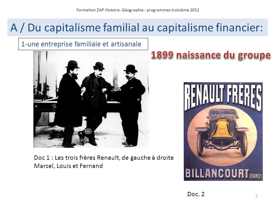 Formation ZAP Histoire- Géographie : programmes troisième 2012 A / Du capitalisme familial au capitalisme financier: Doc 1 : Les trois frères Renault,