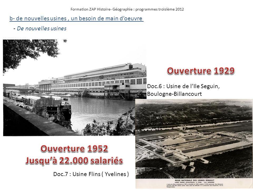 Formation ZAP Histoire- Géographie : programmes troisième 2012 Doc.6 : Usine de lIle Seguin, Boulogne-Billancourt b- de nouvelles usines, un besoin de