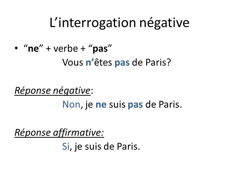 Linterrogation négative ne + verbe + pas Vous nêtes pas de Paris.
