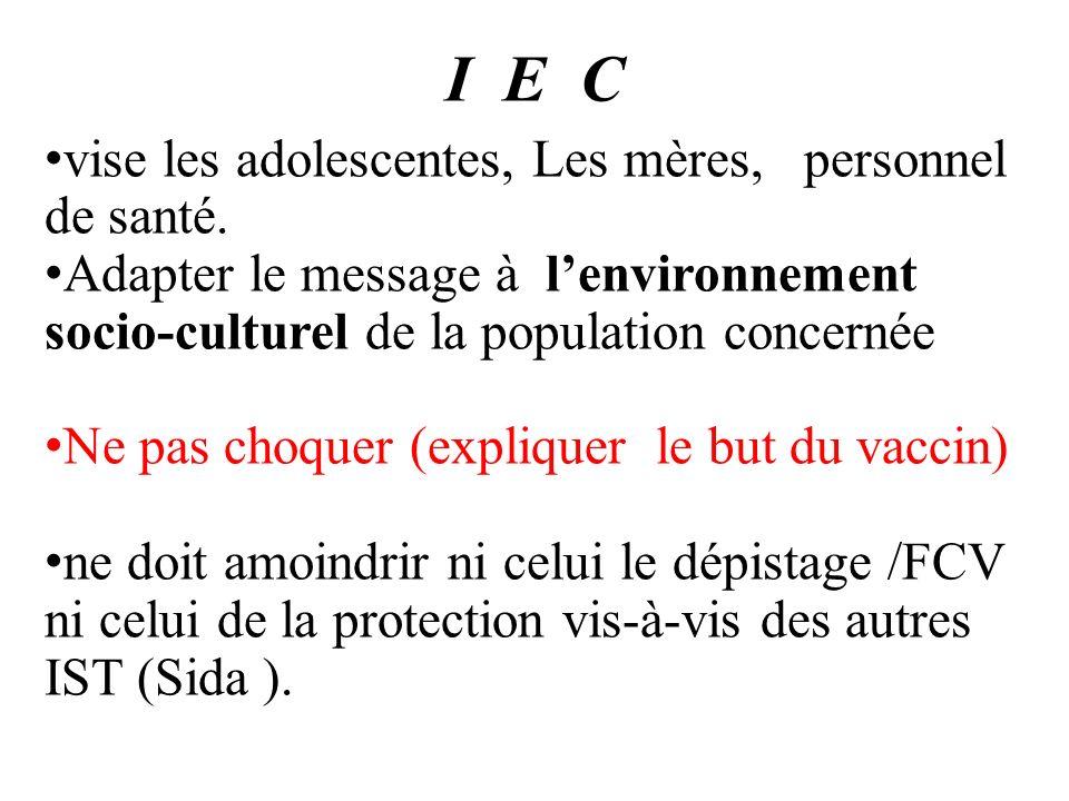 I E C vise les adolescentes, Les mères, personnel de santé. Adapter le message à lenvironnement socio-culturel de la population concernée Ne pas choqu