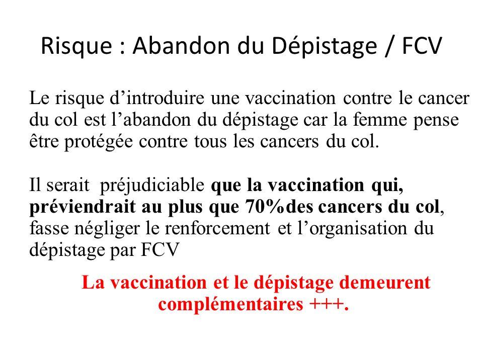 Risque : Abandon du Dépistage / FCV Le risque dintroduire une vaccination contre le cancer du col est labandon du dépistage car la femme pense être pr