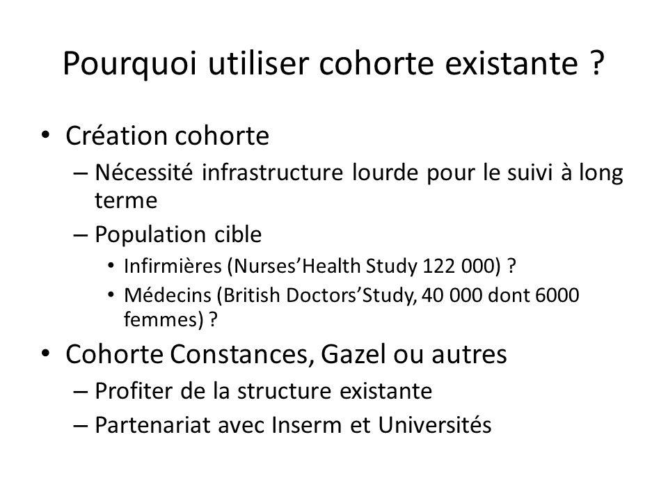 Pourquoi utiliser cohorte existante ? Création cohorte – Nécessité infrastructure lourde pour le suivi à long terme – Population cible Infirmières (Nu