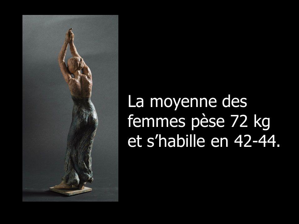 La moyenne des femmes pèse 72 kg et shabille en 42-44.