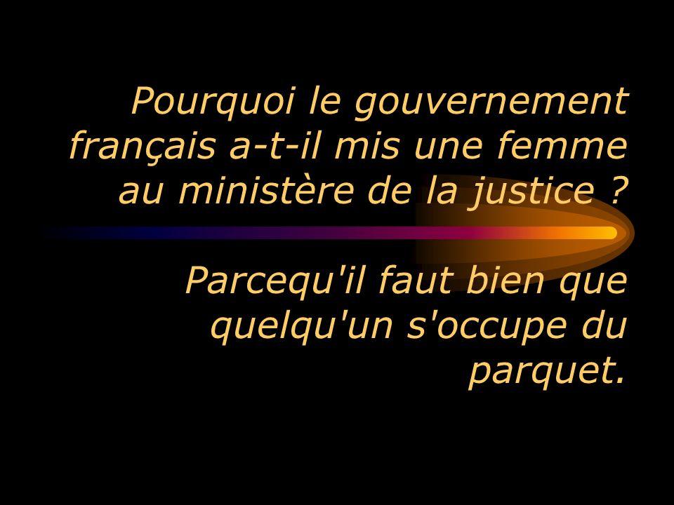 Pourquoi le gouvernement français a-t-il mis une femme au ministère de la justice ? Parcequ'il faut bien que quelqu'un s'occupe du parquet.