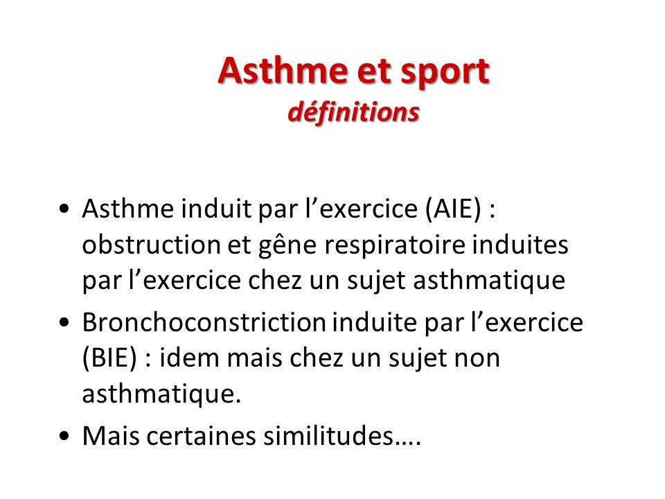 Asthme et sport définitions Asthme induit par lexercice (AIE) : obstruction et gêne respiratoire induites par lexercice chez un sujet asthmatique Bron