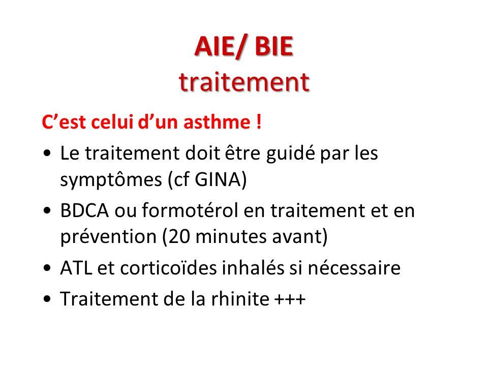 AIE/ BIE traitement Cest celui dun asthme ! Le traitement doit être guidé par les symptômes (cf GINA) BDCA ou formotérol en traitement et en préventio