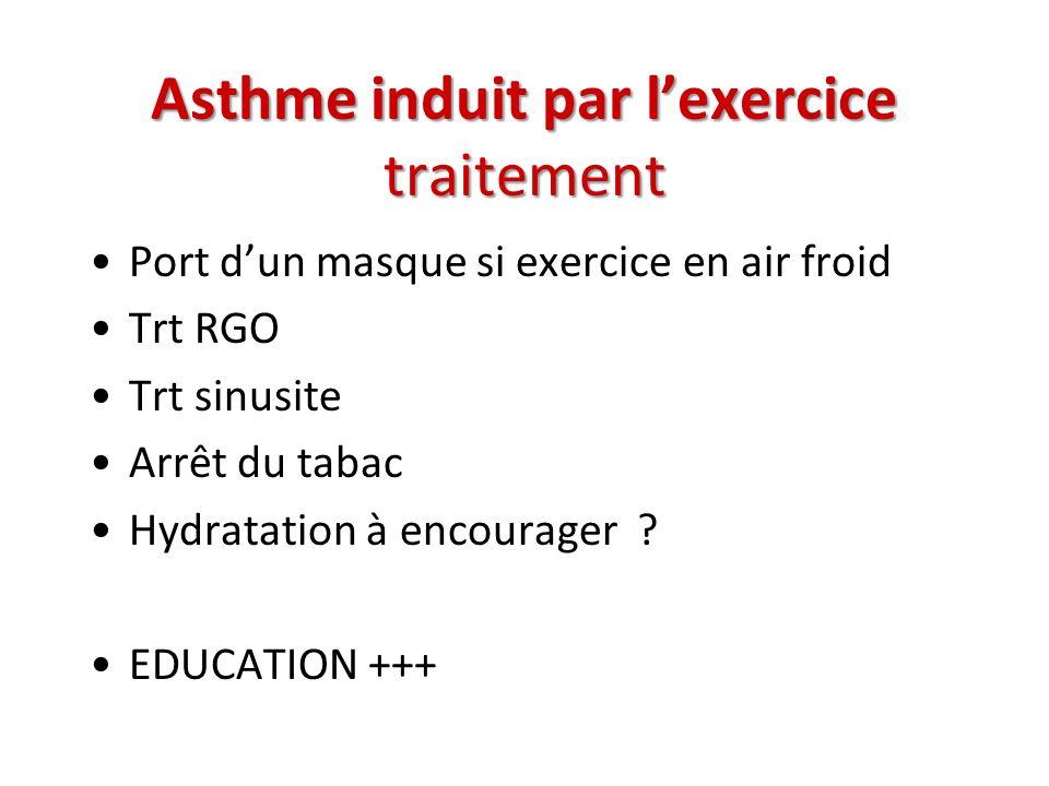 Asthme induit par lexercice traitement Port dun masque si exercice en air froid Trt RGO Trt sinusite Arrêt du tabac Hydratation à encourager ? EDUCATI