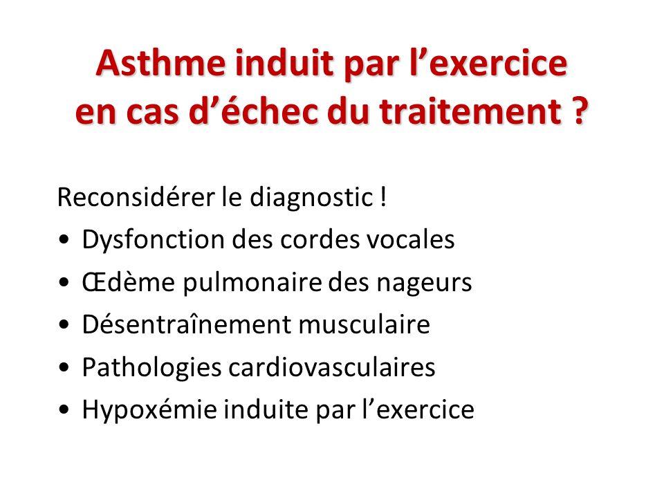Asthme induit par lexercice en cas déchec du traitement ? Reconsidérer le diagnostic ! Dysfonction des cordes vocales Œdème pulmonaire des nageurs Dés