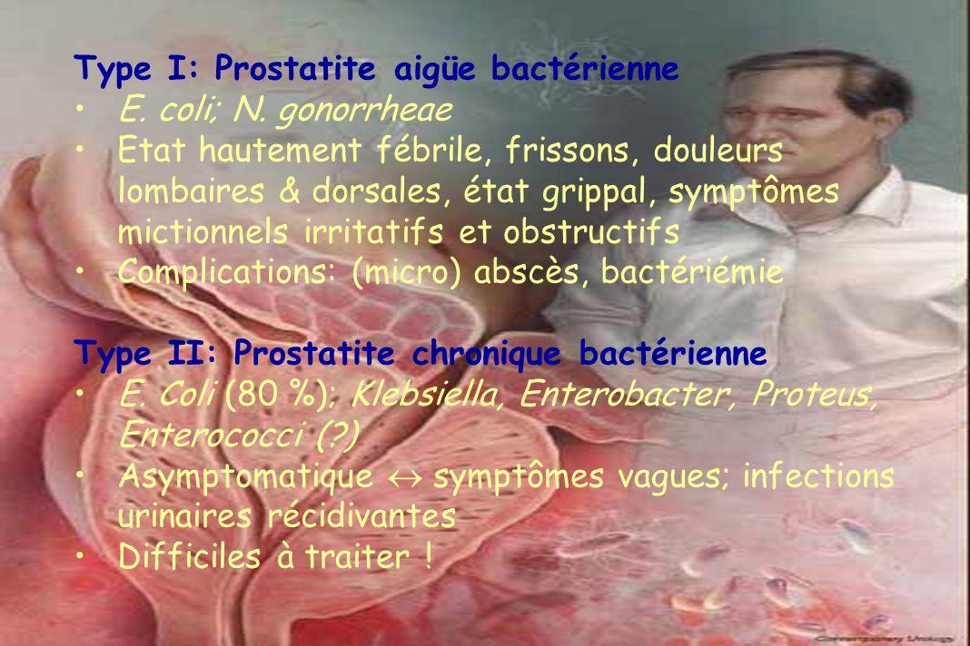 Type I: Prostatite aigüe bactérienne E. coli; N. gonorrheae Etat hautement fébrile, frissons, douleurs lombaires & dorsales, état grippal, symptômes m
