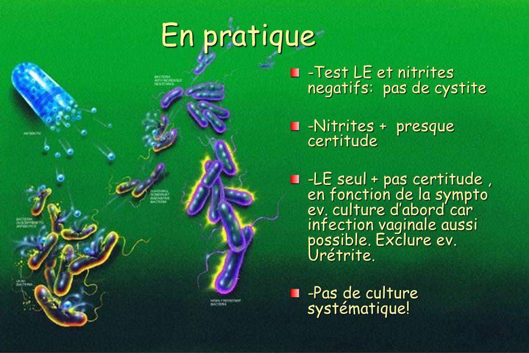 En pratique -Test LE et nitrites negatifs: pas de cystite -Nitrites + presque certitude -LE seul + pas certitude, en fonction de la sympto ev. culture