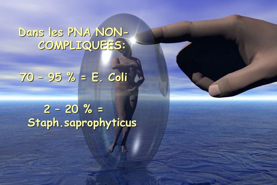 Dans les PNA NON- COMPLIQUEES: 70 – 95 % = E. Coli 2 – 20 % = Staph.saprophyticus