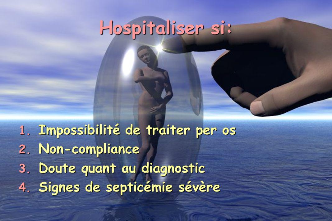 1. Impossibilité de traiter per os 2. Non-compliance 3. Doute quant au diagnostic 4. Signes de septicémie sévère Hospitaliser si: