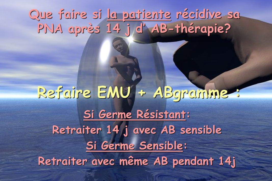 Que faire si la patiente récidive sa PNA après 14 j d AB-thérapie? Refaire EMU + ABgramme : Si Germe Résistant: Retraiter 14 j avec AB sensible Si Ger
