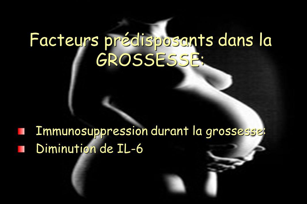 Immunosuppression durant la grossesse: Diminution de IL-6 Facteurs prédisposants dans la GROSSESSE: