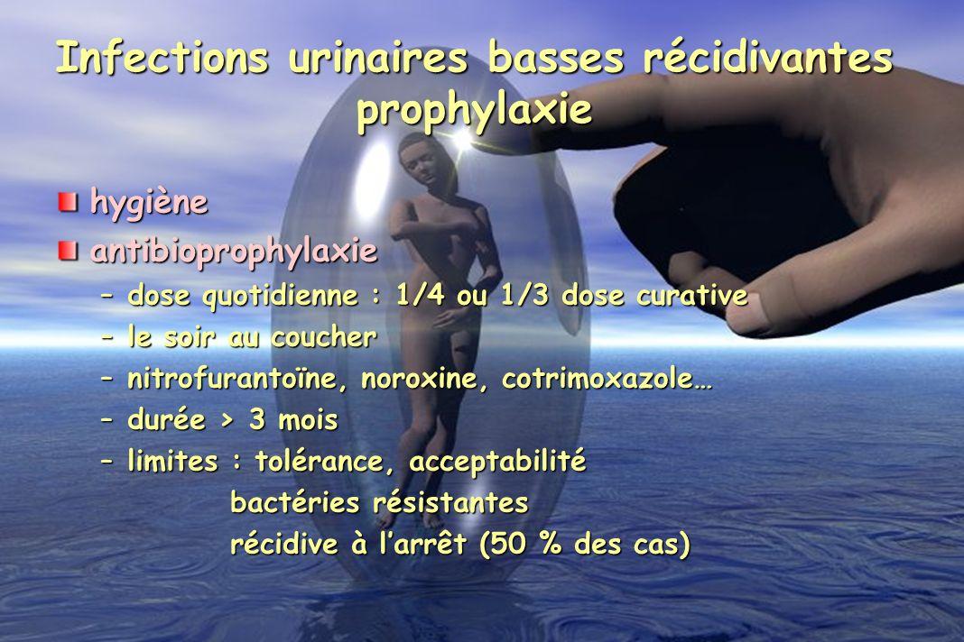 hygièneantibioprophylaxie –dose quotidienne : 1/4 ou 1/3 dose curative –le soir au coucher –nitrofurantoïne, noroxine, cotrimoxazole… –durée > 3 mois