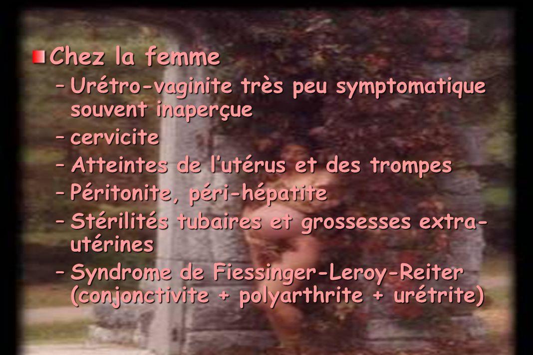 Chez la femme –Urétro-vaginite très peu symptomatique souvent inaperçue –cervicite –Atteintes de lutérus et des trompes –Péritonite, péri-hépatite –St