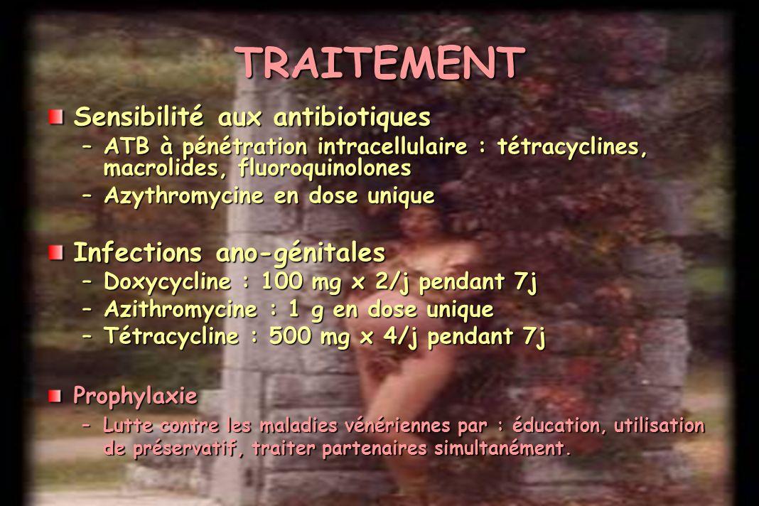 Sensibilité aux antibiotiques –ATB à pénétration intracellulaire : tétracyclines, macrolides, fluoroquinolones –Azythromycine en dose unique Infection